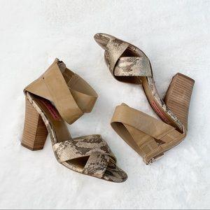 Betsy Johnson Snake Print Block Heel Sandal 7.5
